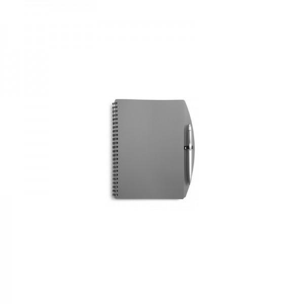 Poznámkový blok šedý s perom